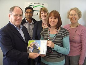 Optelec Compact mini presented by Peter Skipper to was won by the Rehabilitation Team at Peterborough Sensory Support Service